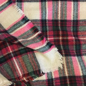 Accessories - Pink and white plaid woven scarf